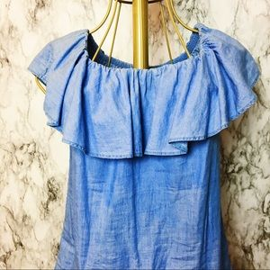 Tops - Versatile Denim Ruffle Top